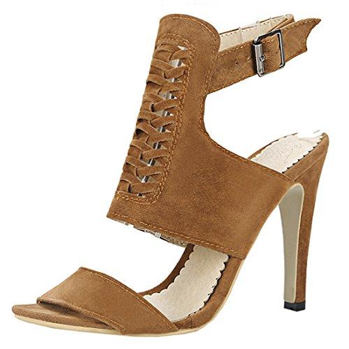 Artfaerie Damen Stiletto High Heels Sommer Stiefeletten mit Schnalle Slingback Riemchen Sandalen Moderne Open Toe Schuhe