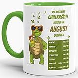 Tassendruck Geburtstags-Tasse Die Coolsten Chillkröten Werden im August Geboren Innen & Henkel Hellgrün - Mug/Cup / Becher/Lustig / Witzig/Geschenk-Idee