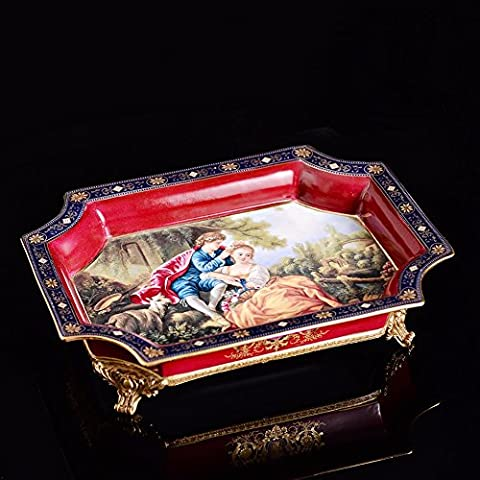 Upper-The high-end luxury fruit dish square disc ceramic plate with copper ornaments inlaid copper water