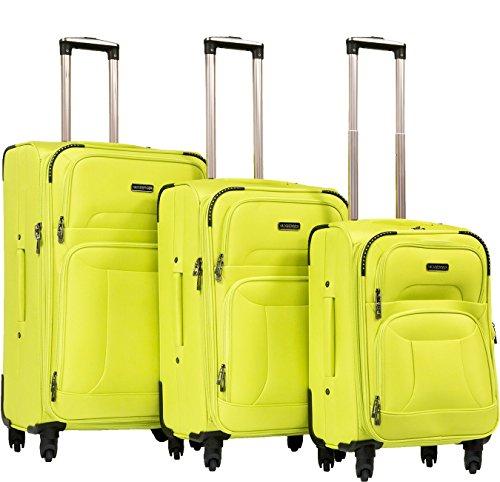 Hainberger Markenkoffer 3er Koffer-Set Trolley-Set Rollkoffer Reisekoffer, TSA, (S, M & L) Lemon Green Stoff