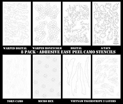 Acid Tactical 8Design Combo Camouflage einfach schälen Spray Duracoat Camo Gun Malerei Schablonen (Digital Tiger Stripe)