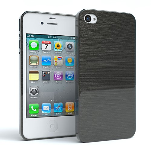 "EAZY CASE Handyhülle für Apple iPhone 4S, iPhone 4 Hülle - Premium Handy Schutzhülle Slimcover ""Clear"" - Transparentes Silikon Backcover in Klar / Durchsichtig Brushed Anthrazit"