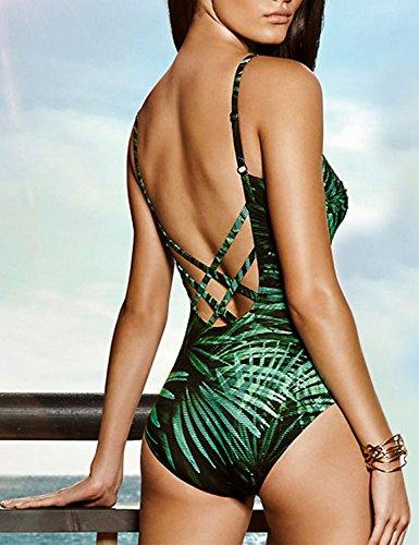 Blooming Jelly Damen Badeanzug Rückenfrei - Überkreuzter Rücken, verstellbare Schulterträger, Brasilianisches Blätter Muster