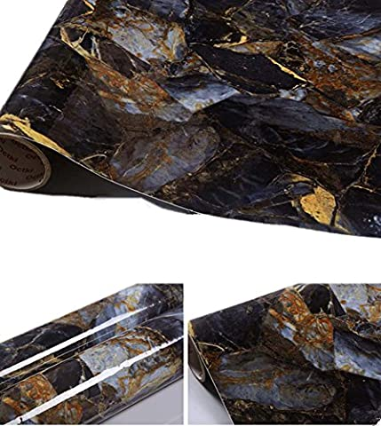 Sapphire Granite Look Marble Gloss Film Vinyl Self Adhesive Counter Top Peel and Stick Wall Decal 12''x79''