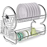 VDNSI Home Kitchen 8 Shape Dual Layer Plate Bowel Cup Cutlery Dish Drainer Dryer Drip Tray Storage Rack Holder