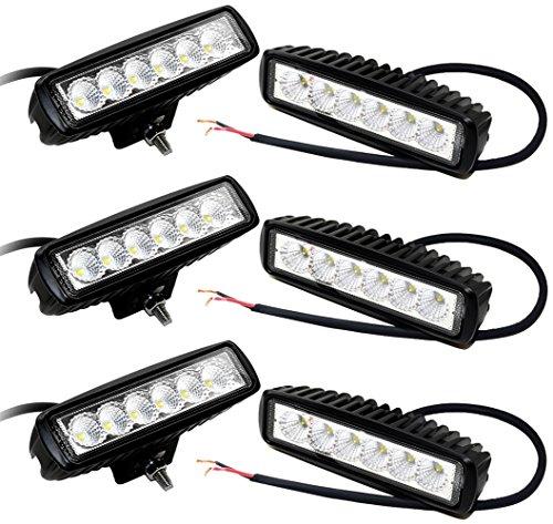 Leetop 6X 18W 12V/24V Spot LED Lampes Work Light Feux de Travail Véhicule