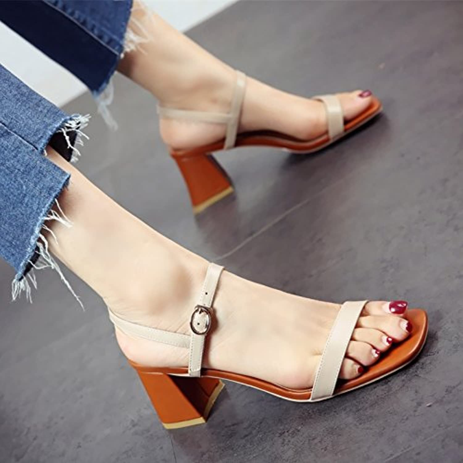 e3066c4a54cb YMFIE Ladies square heel toe toe sandals sandals sandals summer comfort  temperament high heeled shoes fashion work shoes B07DJ9W3R7 Parent 2e3861