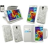 Emartbuy® Samsung Galaxy S5 Abnehmbare 2 in 1 Premium PU Leder Wallet Etui Hülle Case Cover Weiß Butterfly Diamante mit Kreditkartenfächern