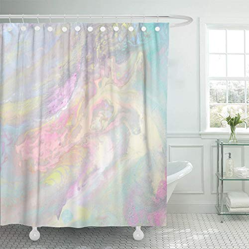 LongTrade Bad Duschvorhang Shower Curtain Iridescent Color Transitions Pale Blue Green Yellow Pink Waterproof Polyester Fabric Set with Hooks 60