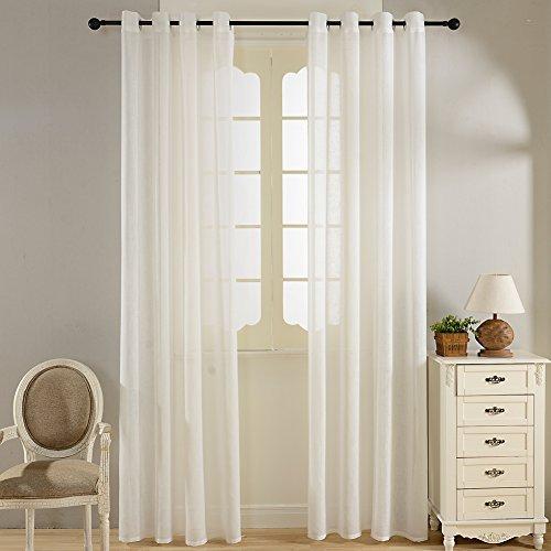 Top finel lino voile tende con occhielli,140 x 245 cm, 2 pezzi,bianco