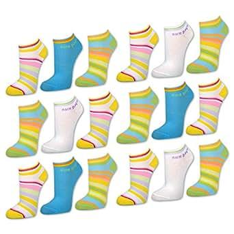 6 oder 12 Paar Damen Sneaker Socken Bunte Ringel Füßlinge Baumwolle Komfortrand - 36805 - Sockenkauf24 (35-38, 12 Paar - Farbmix)