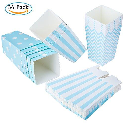 Diealles scatole di popcorn, 36pcs contenitori di popcorn contenitori di caramelle per spuntini del partito, dolci, popcorn e regali - blu