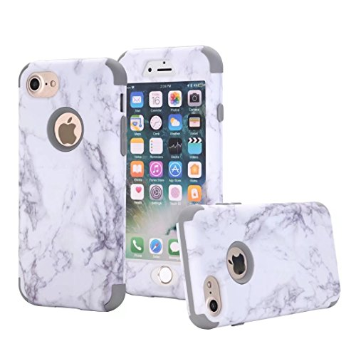 iPhone 7S Coque, Lantier Dual Layer Heavy Duty Marble Stone Graphic Hybrid Armor Hard Soft Rubber Full Body Protective Skin Durable Shockproof Case Cover pour Apple iPhone 7 7S 4.7inch Silver Gray