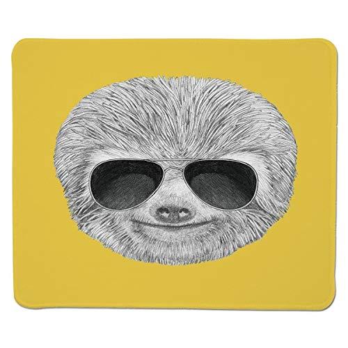 Mousepad Trägheit, Hipster-Dschungel-Tier mit der Sonnenbrille, die lustigen Ausdruck-kühlen Charakter-Druck-Dekorativen, genähten Rand-Nicht Beleg-Gummi lächelt