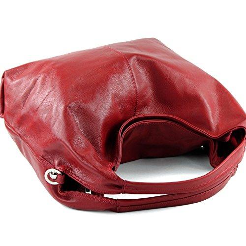 modamoda de - ital. Ledertasche Damenhandtasche Schultertasche Damentasche Nappaleder DS26 Dunkelrot