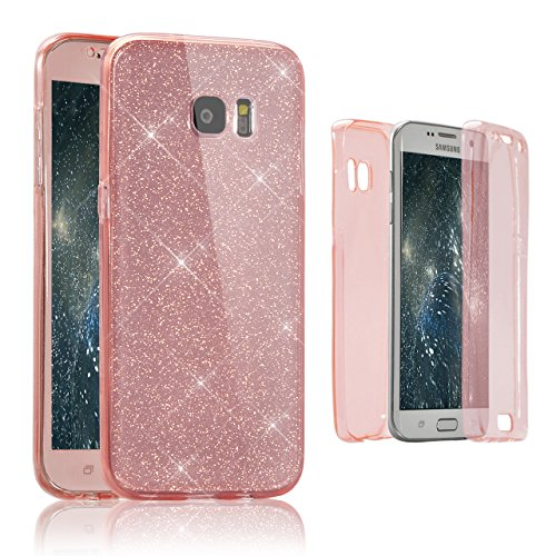 Vandot Samsung Galaxy S6 Coque de Protection Etui Transparent Antidérapant Pour Samsung Galaxy S6 Etui Protection Dorsale Étui Slim Invisible Housse Cover Case en TPU Gel Silicone Hull Shell-Blanc Paillette-Rose