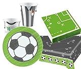 Foxxeo Fussball Geburtstags-Deko Party Set Nr. 3 für 8 Kinder mit Teller Becher Tischdecke Servietten