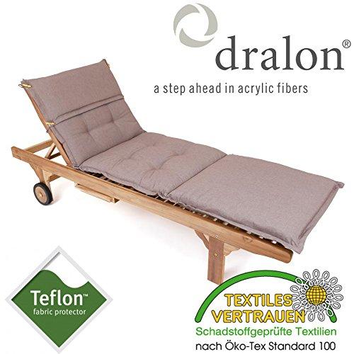 ROG garden-line PL95: dralon / Teflon Premium Auflage FÜR Liege 198 x 64 cm Cappuccino