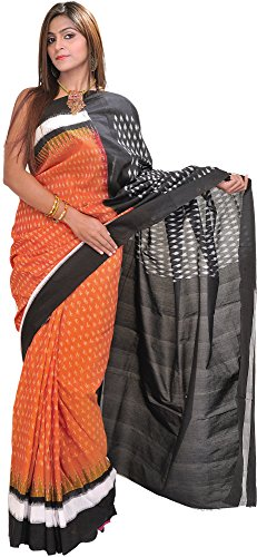 Exotic India Adobe-Brown and Black Ikat Sari from Pochampally with Woven Bootis - Orange Ikat Sari