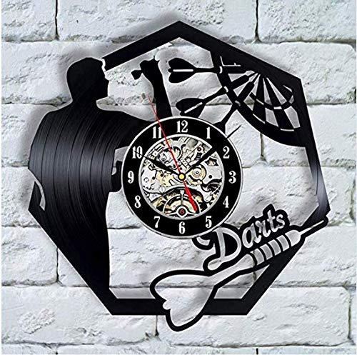 WCZZH Darts Schallplatte Wanduhr Mann Höhle Spiel Raumdekoration 3D Uhr Wand Uhr Dartscheibe Pub Bar Darts Spiel Night Club Decor - Wand-uhr Personalisierte