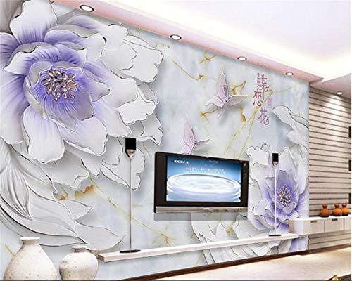 MuralXW Carta da Parati 3D Carta da Parati Decorativa Interna di Rilievo Carta da Parati Semplice della Parete del Fondo della Parete di Dielianhua TV del fiore-280x200cm
