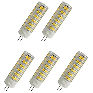 Aoxdi 5X G4 LED Bulbs 7W, 75 SMD 2835, Super Bright G4 LED Lamp, Energy Saving with New Chip Light Source, Warm White,AC 220-240V
