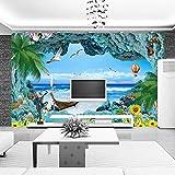 Benutzerdefinierte 3D Fototapete Korallenriff Stereoskopische Ozean Landschaft 3D Zimmer Tv Hintergrund Mittelmeer Ansicht Wandbild Wandpapier 200cm(W) x150cm(H)