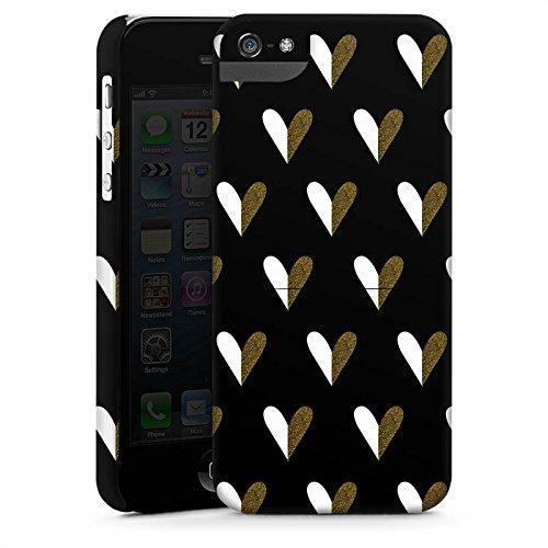 Apple iPhone X Silikon Hülle Case Schutzhülle Herzen Gold Muster Premium Case StandUp