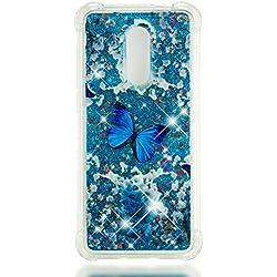 HopMore Funda Xiaomi Redmi 5 Plus Silicona 3D Glitter Liquido Brillante Transparente Purpurina Motivo Kawaii TPU Carcasa Ultrafina Slim Case Antigolpes Protección Cover - Mariposa Azul