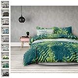 AmeliaHome Averi grün 4tlg Bettwäsche, Baumwolle, Rainforest, 2 x 135x200 + 2 x 80x80