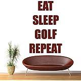Mangez répétition de golf Sport Citers de sommeil Wall Sticker Sports Art Stickers Décor disponible en 5 dimensions et 25 couleurs Très Petit Noir