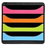 Exacompta 310498D Ablage-/Big Box Iderama (34,7x27,8x26,7 cm, mit 4 offenen Laden, geeignet für Dokumente DIN A4, robust und belastbar) bunt