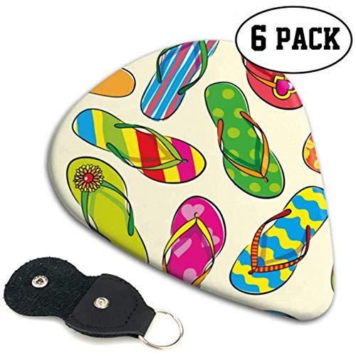 Nahtlose Muster mit handgezeichneten Flip-Flops jungen Plektren Bassgitarre abholen 6er Pack schweres Geschenk