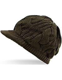 Distressed - Cap/Ballonmütze Slouch Strickmütze mit Schirm