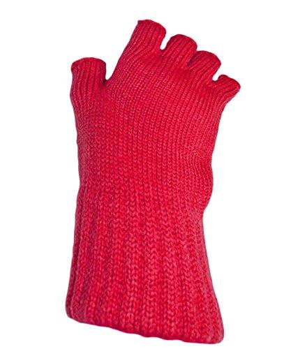 Damen super weiche Warm Feinstrick Thermische Fingerlose Handschuhe Winter-RED (Weiche Stretch-handschuhe)