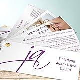 Schöne Hochzeitseinladungen, Ja! 200 Karten, Kartenfächer 210x80 inkl. weißer Umschläge, Lila