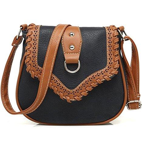 MKXI® Damen Kleine Handtasche PU-Ledertasche Vintage Crossbody Schultertasche Umhängetasche Tragetaschen Schwarz