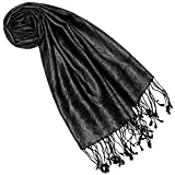 Lorenzo Cana Luxus Seidenschal für Frauen Schal 100% Seide gewebt Damenschal elegant Paisley Muster Ton in Ton schwarz 7840777