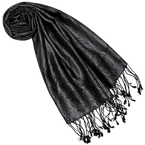 Lorenzo Cana Luxus Seidenschal für Frauen Schal 100% Seide gewebt Damenschal elegant Paisley Muster Ton in Ton schwarz 7840777 -