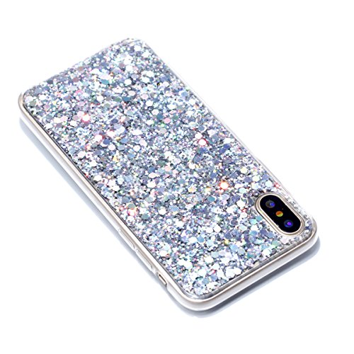 iPhone X Custodia, iPhone X Cover, iPhone X Custodia Silicone, JAWSEU Moda Stile Lusso Cristallo di Bling Brillante Sparkle Glitter Ultra Sottile Custodia per iPhone X Back Cover Case Flessibile Gomma Bling Argento
