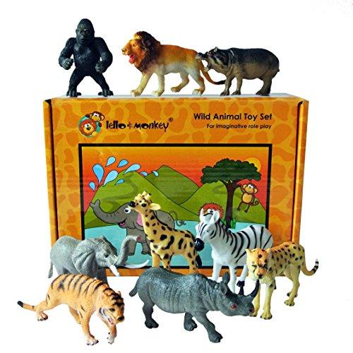 Lello and Monkey Safari animali giocattolo di plastica figure - set di 9 inscatolati