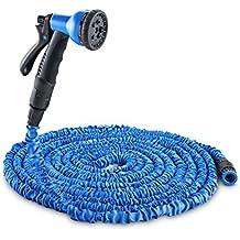 DURAMAXX Water Wizard Canna dell´acqua tubo da giardino Flessibile (30 metri, 8 tipi di getto, estensibile, auto avvolgente, adattatore) blu - Piante Irrigazione Tubi