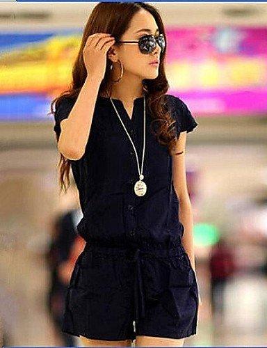 GSP-taille plus marine solide combinaisons courtes bleu, désinvolte petit cou de v manches courtes des femmes blue-3xl