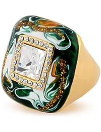 Yoursfs anillos mujer tres veces chapado en oro amarillo con cristales austriacos brillantes