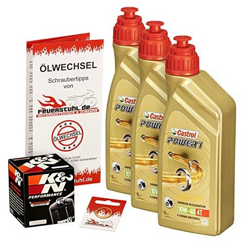 Castrol 10W-40 Öl + K&N Ölfilter für Yamaha YZF-R6, 99-05, RJ03 RJ05 RJ09 - Ölwechselset inkl. Motoröl, Filter, Dichtring