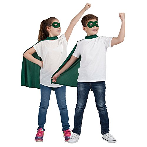 Green Cape Kostüm - Childs Green Super Hero Cape & Mask Fancy Dress Costume