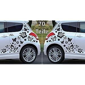Folienaufkleber/Autoaufkleber Set ***Hibiskus Blumen & Schmetterlinge oder Sterne - Komplettset*** - (Design,Größen und Farbauswahl)