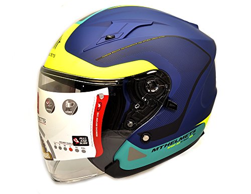 MT - Casco Jet Avenue SV CrossRoad Azul/Amarillo Mate (L)