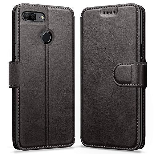 ykooe Honor 9 Lite Hülle, Flip Wallet Handy Schutzhülle Leder Handyhülle für Huawei Honor 9 Lite Tasche – Schwarz