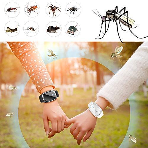 QHYXT Ultraschall-Mückenschutz-Armband,Moskito-Insekten-Schädlingsbekämpfungs-Uhr für das Erwachsen-Kindercamping-Fischen im Freien Wiederverwendbare intelligente Armbänder mit wiederaufladbarem USB (Baby-elektronisches Schild)
